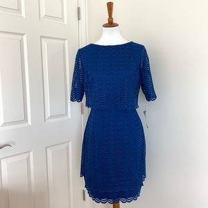 American Living blue scalloped lace dress